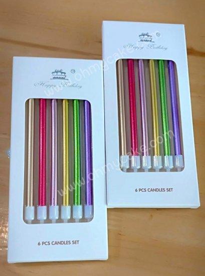 เทียนวันเกิดยาวสีเมทัลลิคคละสี (10 กล่อง)