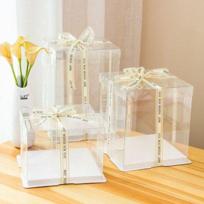 กล่องเค้กทรงสูง 1 ปอนด์ ฐานสีขาว (1 แพค 2 ใบ)