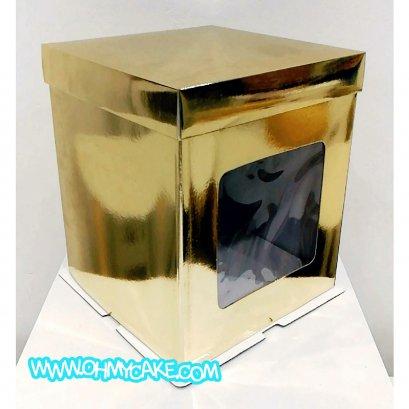 กล่องเค้กทรงสูงสีทอง