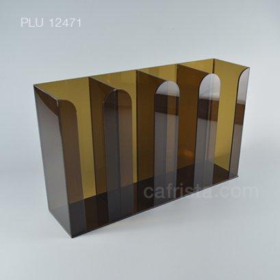 กล่องใส่แก้วอะคริลิค 4 ช่อง สีชา
