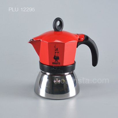 """หม้อต้มกาแฟ โมก้าพอท BIALETTI รุ่น """"Induzione"""" Induction Moka Pot สี Red (3-cup)"""