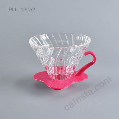 ดริปเปอร์แก้ว HARIO V60 02 Glass Dripper (2-4 cups) Pink
