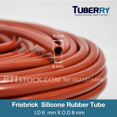 ท่อยางซิลิโคนสีแดงอิฐ  I.D6 X O.D8 mm