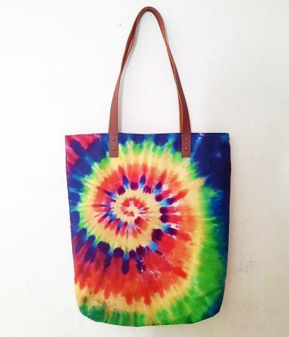 กระเป๋าผ้าแคนวาส / พิมพ์มัดย้อม / กระเป๋าลายมัดย้อม / จัดส่งฟรี