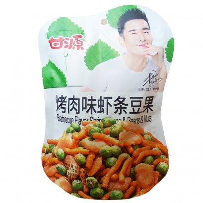 GANYUAN BARBECUE FLAVOR SHRIMP STRIP&BEANS&NUTS 75 G.