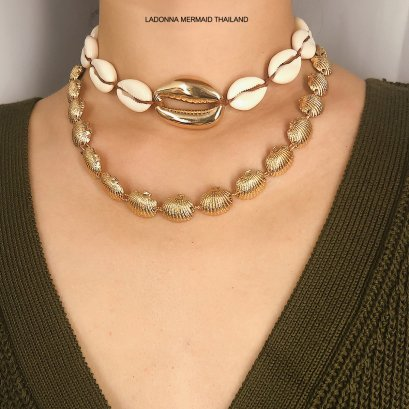 Shell & Pearl Charm Layered Necklace ACN006