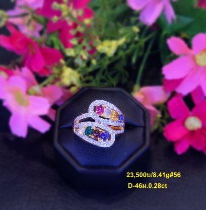 แหวนทองแท้ นพเก้าพลอยแท้ เพรชแท้นำ้เพรช98 รายละเอียดในภาพสินค้า