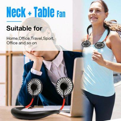 พัดลมคล้องคอ 3สปีด ชาร์จแบตได้ Portable USB Rechargeable Lazy Fan Hanging Neck Mini Cooling Sports Rest Fan(สีดำ)