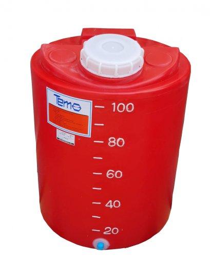 """PE Tank ถังPE 100ลิตร TEMA หนา 4mm สีแดง พร้อมสเกลบอกปริมาณสารเคมี มีรูเดรน 1/2"""""""