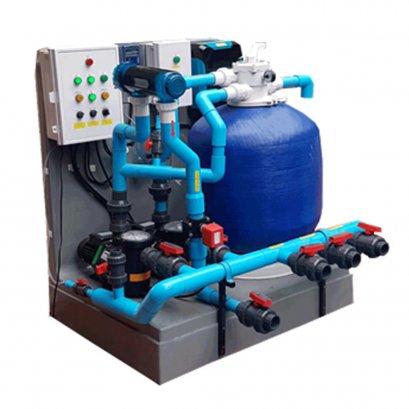 (น้ำใสตลอด24ชม)ชุดปั๊มกรองประกอบเสร็จสระระบบเกลือพร้อมชุดวัดคุมค่าคลอรีนอัตโนมัติ Overflow 100 คิว+Chlorine Controller