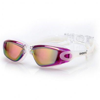 แว่นตาว่ายน้ำคุณภาพดี สีม่วงสวย ดีไซน์เก๋ ป้องกันรังสี UV พร้อมปลั้กอุดหู พร้อมกล่อง Swimming Googles Clear Glasses Anti Fog UV Protect Earplug Swim Pool Water Sport