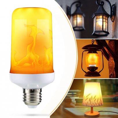 หลอดไฟLEDเปลวไฟวิ่ง LED Flame Effect Fire Light Corn Bulb E27 Simulated Nature Flicking Decor Lamp
