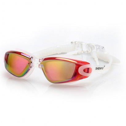 แว่นตาว่ายน้ำคุณภาพดี สีแดงสวย ดีไซน์เก๋ ป้องกันรังสี UV พร้อมปลั้กอุดหู พร้อมกล่อง Swimming Googles Clear Glasses Anti Fog UV Protect Earplug Swim Pool Water Sport