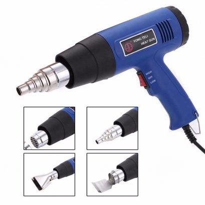 เครื่องเชื่อม PVC,PE,PP,ABS,Plastic เครื่องเป่าลมร้อน Hot Air 220V 1500w Heat Gun Dual Temperature+ 4 Nozzles Power Tool Set EU