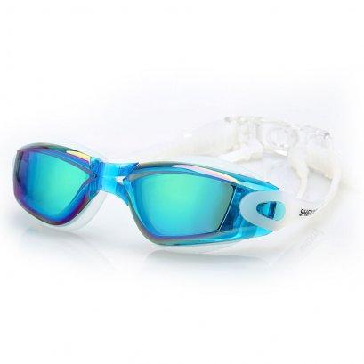 แว่นตาว่ายน้ำคุณภาพดี สีฟ้าสวย ดีไซน์เก๋ ป้องกันรังสี UV พร้อมปลั้กอุดหู พร้อมกล่อง Swimming Googles Clear Glasses Anti Fog UV Protect Earplug Swim Pool Water Sport