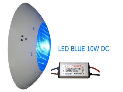 โคมไฟใต้น้ำแสงสีฟ้าLED Blue 10W 12v (DC) IP68 High power Underwater light 700 lm  140 องศา  รวมหม้อแปลง