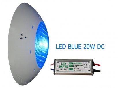 โคมไฟใต้น้ำแสงสีฟ้าLED Blue 20W (DC) IP68 High power Underwater light 1000-1500 lm  140 องศา รวมหม้อแปลง