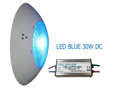 โคมไฟใต้น้ำแสงสีฟ้าLED Blue 30W 12v (Dc) IP68 High power Underwater light 1500-1800 lm  140 องศา