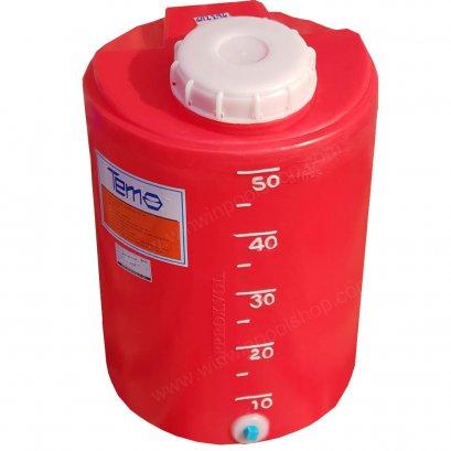 """PE Tank ถังPE 50ลิตร TEMA หนา 5mm สีแดง พร้อมสเกลบอกปริมาณสารเคมี มีรูเดรน 1/2"""""""