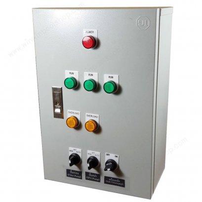 ตู้ควบคุมปั้ม คุมระบบสระว่ายน้ำพร้อมเบรคเกอร์เมนกันไฟดูด Control Panel ควบคุมปั้มกรอง 1ตัว ปั้มสปา1ตัว เครื่องเกลือ1เครื่อง