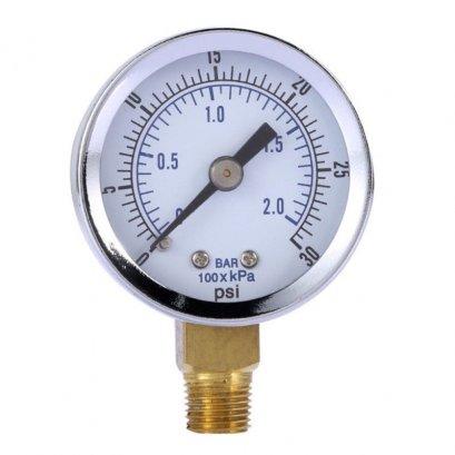 เพชเชอร์เกจ 0-2 บาร์ เกลียวล่างStainless Steel Hydraulic Liquid Filled Pressure Gauge 0-30 PSI 0-2bar TRY