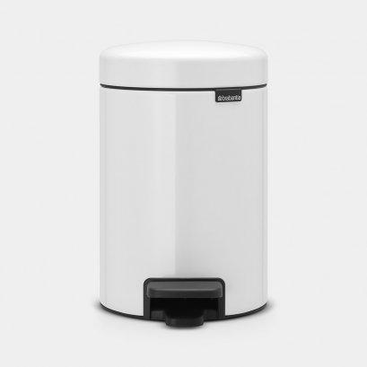 Pedal Bin 3L White Soft Closing, Plastic Inner Bucket