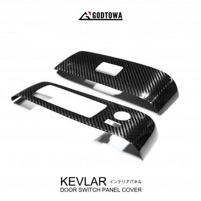 ชุดครอบแผงสวิทซ์ปรับกระจก เคฟล่าแท้ (KEVLAR DOOR SWITCH PANEL COVER) สำหรับรถยนต์ อัลพาร์ด / เวลไฟร์ (Alphard/Vellfire 30) รุ่นปี 2015-2021