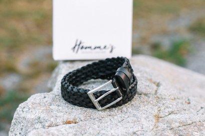 Homme's Knit collection เข็มขัดหนังถัก สีดำ