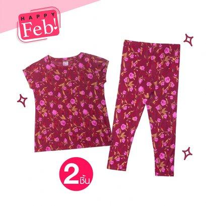 ชุดเสื้อ - กางเกง ลายดอกไม้ รหัส GL61 , GLT61