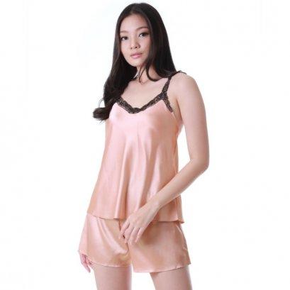 ชุดนอน 2 ชิ้น เสื้อและกางเกงขาสั้นสีน้ำตาล รหัส BSLOL3/4