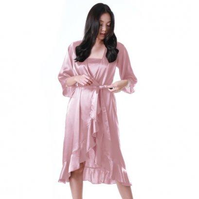 เสื้อคลุมซาตินมีระบาย สีชมพูนู้ด รหัส FHBSS3