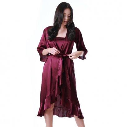 เสื้อคลุมซาตินมีระบาย สีแดงไวน์ รหัส FHBSS3