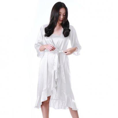 เสื้อคลุมซาตินมีระบาย สีขาว Sugar รหัส FHBSS3
