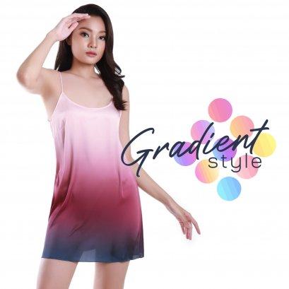 ชุดนอนเดรสผ้าชีฟอง ไล่เฉดสี Gradient Set ชุดนอนเดรส ชุดนอนเดรสสั้น ชุดนอนผ้าชีฟอง ชุดนอนผ้าลื่น