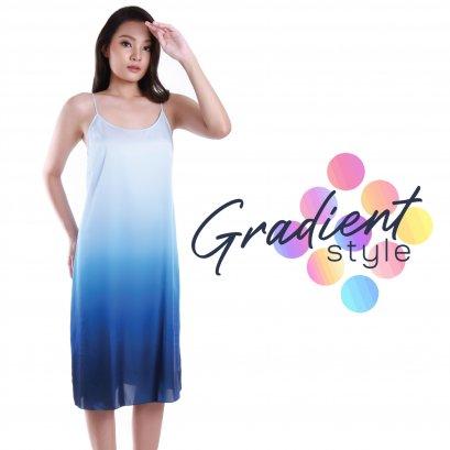 ชุดนอนเดรสผ้าชีฟอง ไล่เฉดสี Gradient Set ชุดนอนเดรส ชุดนอนเดรสยาว ชุดนอนผ้าชีฟอง ชุดนอนผ้าลื่น