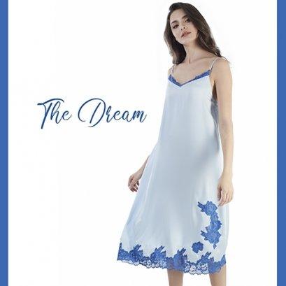 The Dreams ชุดนอนเดรสยาวสายเดี่ยว สีฟ้า รหัส FHTD04