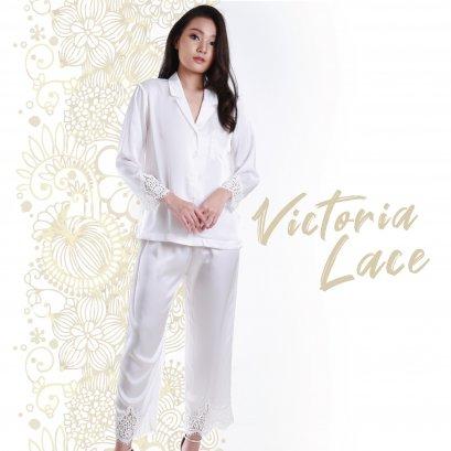 VICTORIA Set เสื้อแขนยาวมีปก - กางเกงขายาว  สีออฟไวท์ รหัส FHVTR5