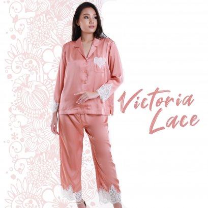 VICTORIA Set เสื้อแขนยาวมีปก - กางเกงขายาว สีทราย รหัส FHVTR5