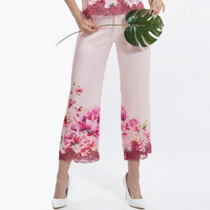 กางเกงขายาวพิมพ์ลายดอกไม้ รหัส FHPON2-LP