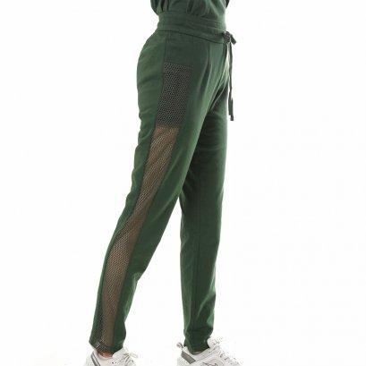 Sporty Net กางเกงขายาวตกแต่งตาข่ายด้านข้าง สีเขียว รหัส GIB-LNPT17