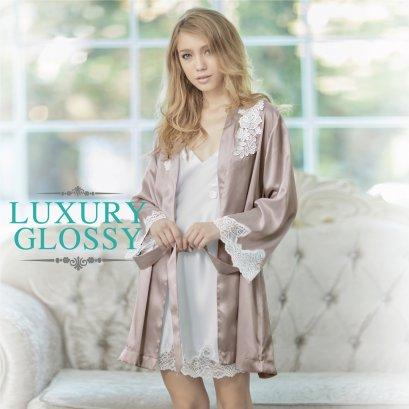LUXURY LACE เสื้อคลุมตัวยาวแขนสั้น สีชมพูนู้ด (โอวันติน) รหัส FHLUX6