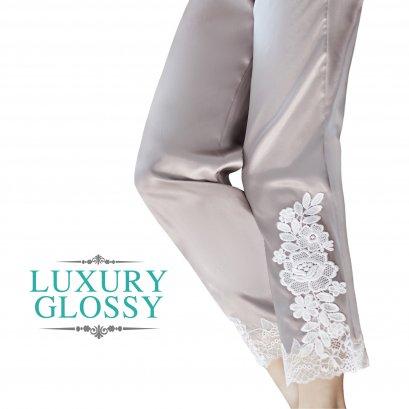 กางเกงขายาวกางเกงผ้าซาติน กางเกงนอนกาง เกงนอนประดับลูกไม้ ชุดนอนเข้าชุด ชุดนอนกางเกงขายาว