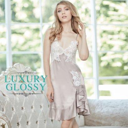 กระโปรงสายเดี่ยวประดับลูกไม้ Luxury Lace (FHLUX5)