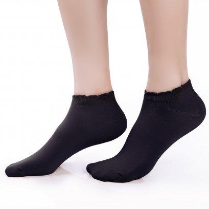 ถุงเท้ารองส้นเนื้อหนา ปิดหน้าเท้า สีดำ รหัส NEFC04