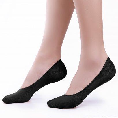 ถุงเท้ารองส้น รีดซิลิโคน สีดำ รหัส NEFC05