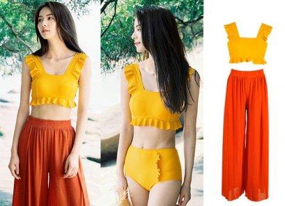 ชุดว่ายน้ำเซต 3 ชิ้น เสื้อว่ายน้ำครอปสั้นสีเหลือง น่ารักมากๆค่าา