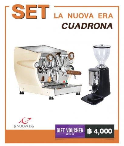 เครื่องชงกาแฟ La Nuova Era : Cuadrona + เครื่องบดกาแฟ MACINA : T1