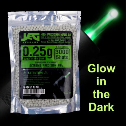 ลูกกระสุนเรืองแสง YESGUNS 0.25g Tracer Glow in the Dark