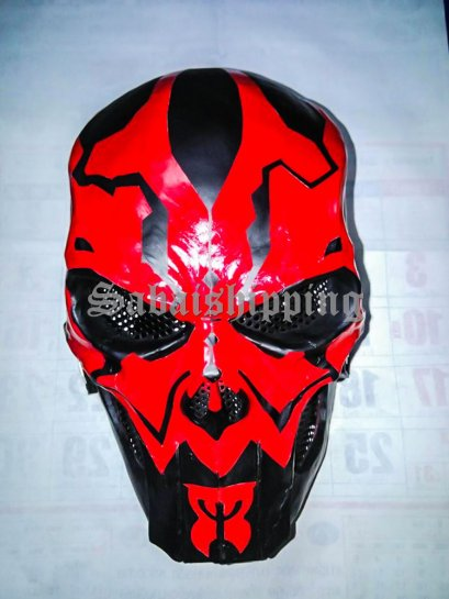 ARMY of TWO PAINTBALL AIRSOFT BB GUN PROP HELMET GOGGLE MASK Red Punisher No.2
