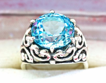 7.0 CT. BLUE AQUAMARINE SAPPHIRE SILVER 925 RING MEN SIZE 7 RARE LUXURY STYLE